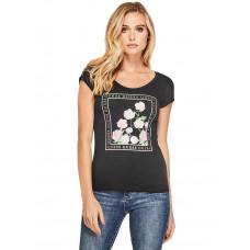 GUESS tričko Lily Floral Graphic Tee černé vel. XS / černá, XS / fialová