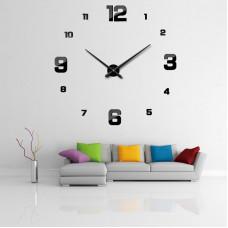 Velké černé samolepící nástěnné hodiny