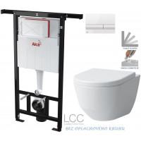 ALCAPLAST - SET Jádromodul - předstěnový instalační systém + tlačítko M1710 + WC LAUFEN PRO LCC RIMLESS + SEDÁTKO (AM102/1120 M1710 LP2)
