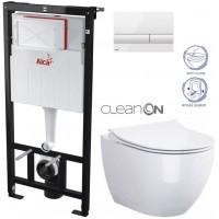 ALCAPLAST - SET Sádromodul - předstěnový instalační systém + tlačítko M1710 + WC OPOCZNO CLEANON URBAN HARMONY + SEDÁTKO (AM101/1120 M1710 HA1)