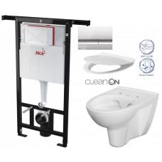 ALCAPLAST - SET Jádromodul - předstěnový instalační systém + tlačítko M1721 + WC CERSANIT CLEANON PARVA + SEDÁTKO (AM102/1120 M1721 PA2)
