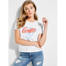 GUESS tričko Originals Classic Triangle Logo Tee bílé vel. XS