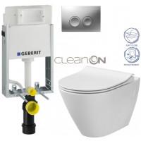 GEBERIT - SET KOMBIFIXBasic včetně ovládacího tlačítka DELTA 21 MAT pro závěsné WC CERSANIT CLEANON CITY + SEDÁTKO (110.100.00.1 21MA CI1)