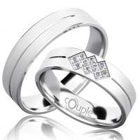 Zlato Snubní prsten Couple Palm z bílého zlata