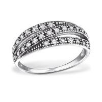 OLIVIE Stříbrný prsten tři linie se zirkony 0688 Velikost prstenů: 7 (EU: 54 - 56)