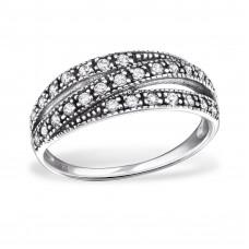OLIVIE Stříbrný prsten tři linie se zirkony 0688 Velikost prstenů: 6 (EU: 51 - 53)