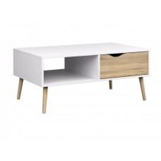 Retro konferenční stolek Oslo 75384 bílý/struktura dubu - TVI