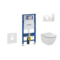 Geberit Sada pro závěsné WC + klozet a sedátko Ideal Standard Tesi - sada s tlačítkem Sigma20, bílá/lesklý chrom/bílá 111.300.00.5 NF4