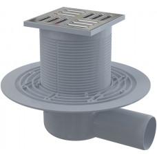 Alcaplast Podlahová vpust 105 × 105/50 boční, mřížka nerez, vodní zápachová uzávěra (APV1311)