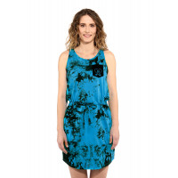 Horsefeathers ELLIS BLUE TIE DYE společenské šaty krátké - XL