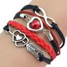 Vintage kožený náramek Nekonečná láska - 7 barev Barva: Černo-červený