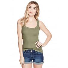 GUESS tílko Samantha Rib-Knit Tank zelené vel. XL