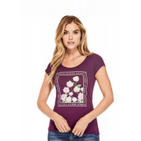 GUESS tričko Lily Floral Graphic Tee purple vel. XS