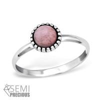 OLIVIE Stříbrný prsten s polodrahokamem RHODONITE 0948 Velikost prstenů: 5 (EU: 47 - 50)