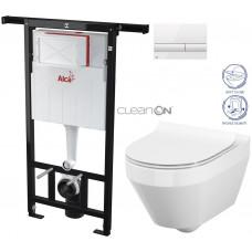ALCAPLAST - SET Jádromodul - předstěnový instalační systém + tlačítko M1710 + WC CERSANIT CLEANON CREA OVÁL + SEDÁTKO (AM102/1120 M1710 CR1)