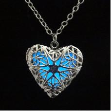 náhrdelník Svítící srdce Barva: Modrý