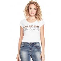 GUESS tričko Mabel Logo Graphic Tee bílé vel. XS