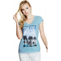 GUESS tričko Emelia Stripe Tee lagoon vel. XL