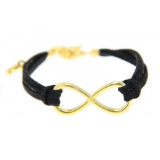 Kožený náramek Zlaté nekonečno - 6 barev Barva: Černý